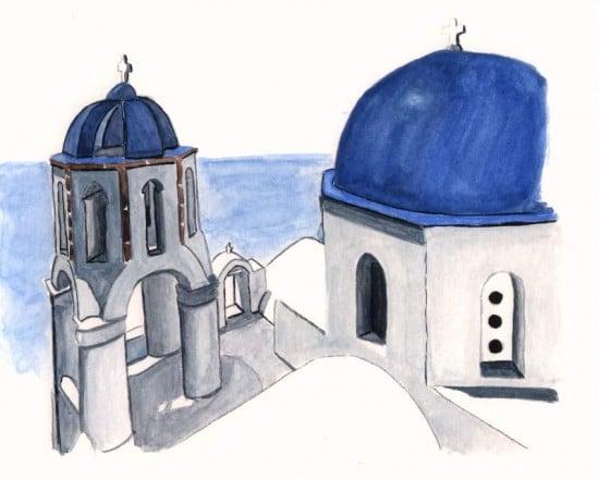 Dibujo en acuarela de Santorini en Grecia