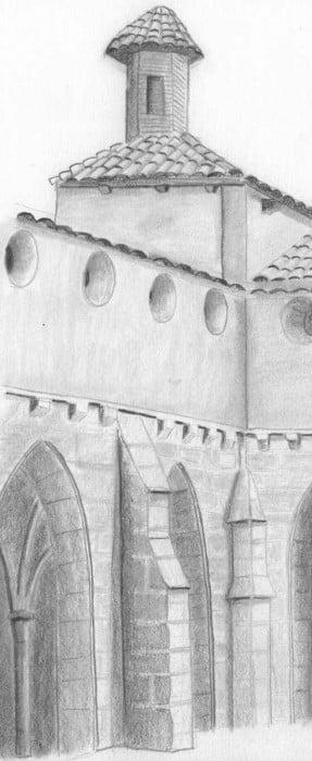sección del monasterio de piedra dibujado a lápiz