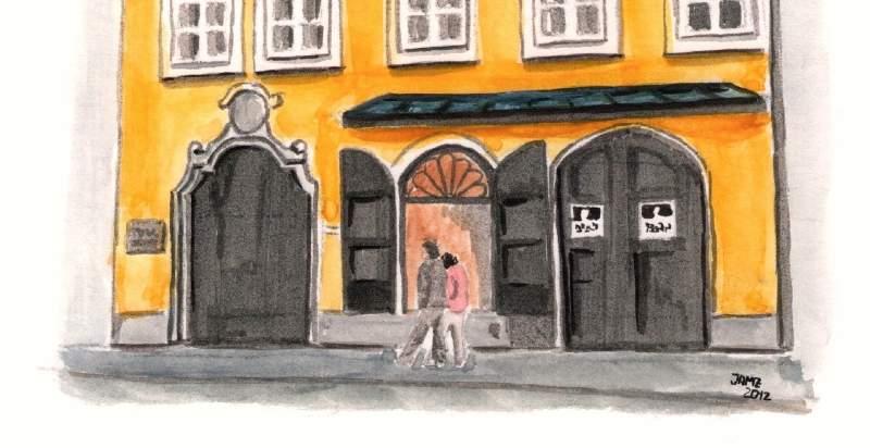 Dibujando la casa de Mozart en Salzburgo