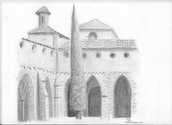 Dibujo de monasterio de piedra