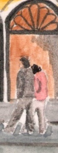 pareja por Salzburgo - dibujo acuarela