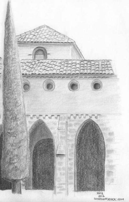Vista del monasterio de piedra dibujado a lápiz