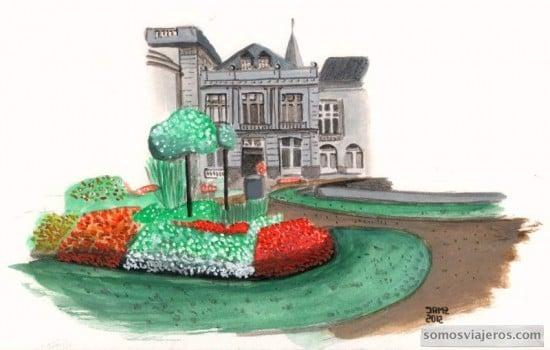Acuarela del casino de Spa en Valona Bélgica