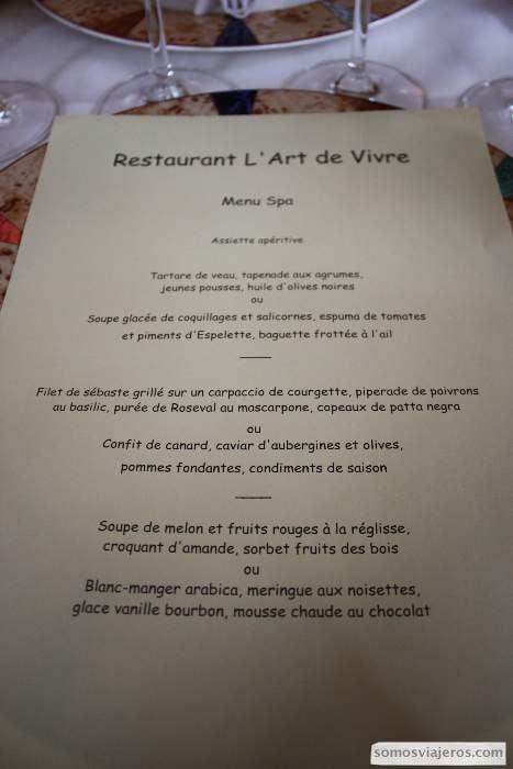 Carte restaurante L'art de Vivre en Spa - valonia