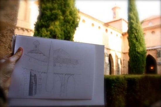 boceto dibujo monasterio de piedra