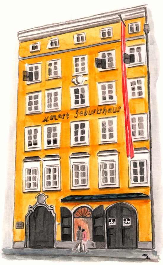 Casa de Mozart - dibujo en acuarela