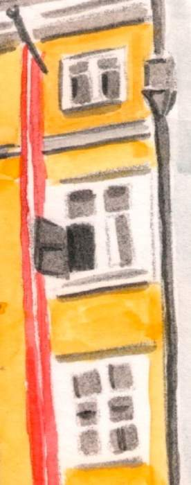 ventanas y bandera de la casa de Mozart