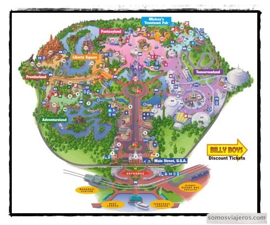Plano de Magic Kingdom en Disneyworld Orlando