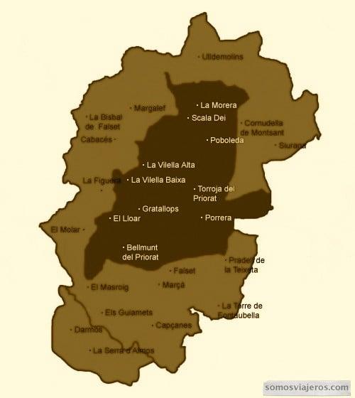 comarca del priorato con la DO Priorato y la DO Montsant