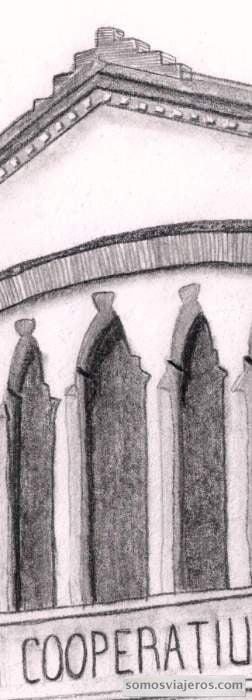 dibujo a lápiz de la cooperativa modernista de Falset cristaleras