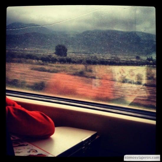 viaje en tren a la maratón de Valencia