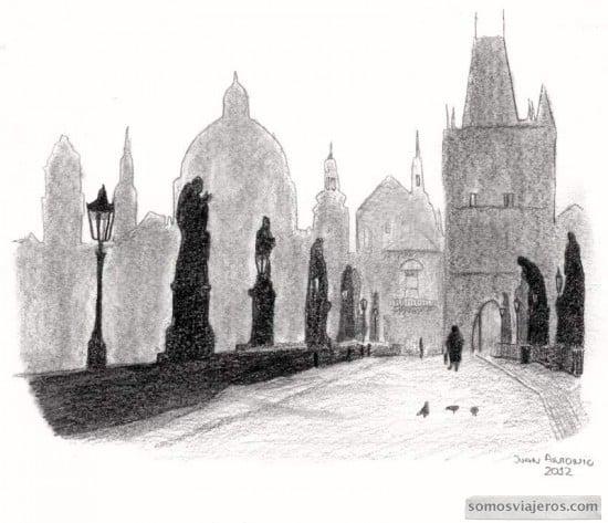 dibujo puente de Carlos praga / sketch Carlos bridge in Prague