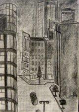 Dibujo de una calle de Tokyo hecho desde el hotel plaza desde la ventana