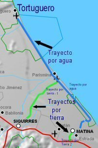 Mapa acceso a Tortuguero