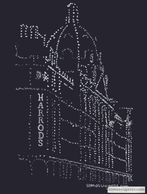 Dibujo de Harrods de noche