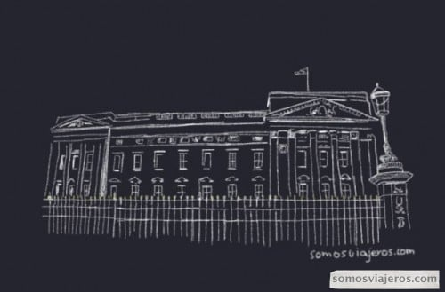 Dibujo del Palacio de Buckingham en Londres
