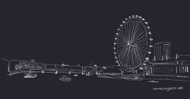 dibujo del támesis y la noria London Eye