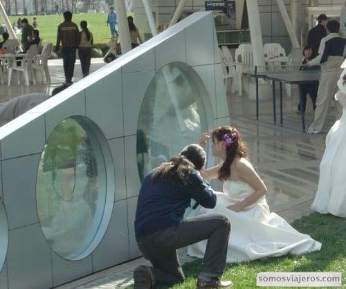 foto novia china peinándose