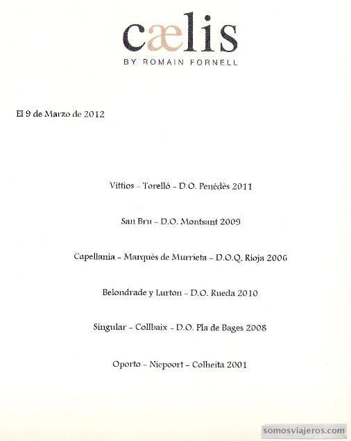 restaurante caelis menu - vinos