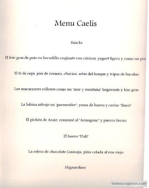 menu restaurante Caelis