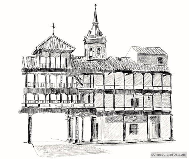 plaza de tembleque dibujo a lápiz