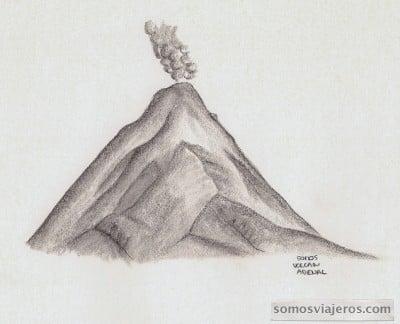 dibujo del volcan arenal