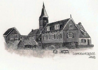 Dibujo a lápiz de Marken en Holanda