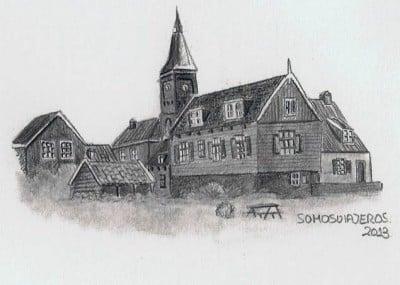 dibujo a lapiz isla Marken Holanda