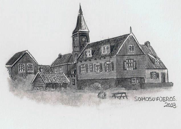 El pequeño dibujo de la pequeña isla de Marken en Holanda