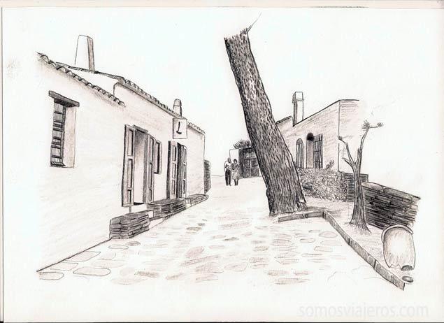 dibujo de Port Lligat en Costa Brava