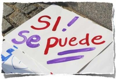pancarta con el texto escrito si se puede