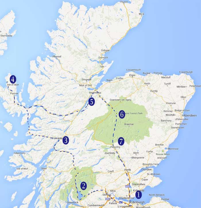 mapa de un recorrido por Escocia