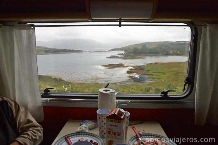 Comiendo en la maravillosa isla de Skye
