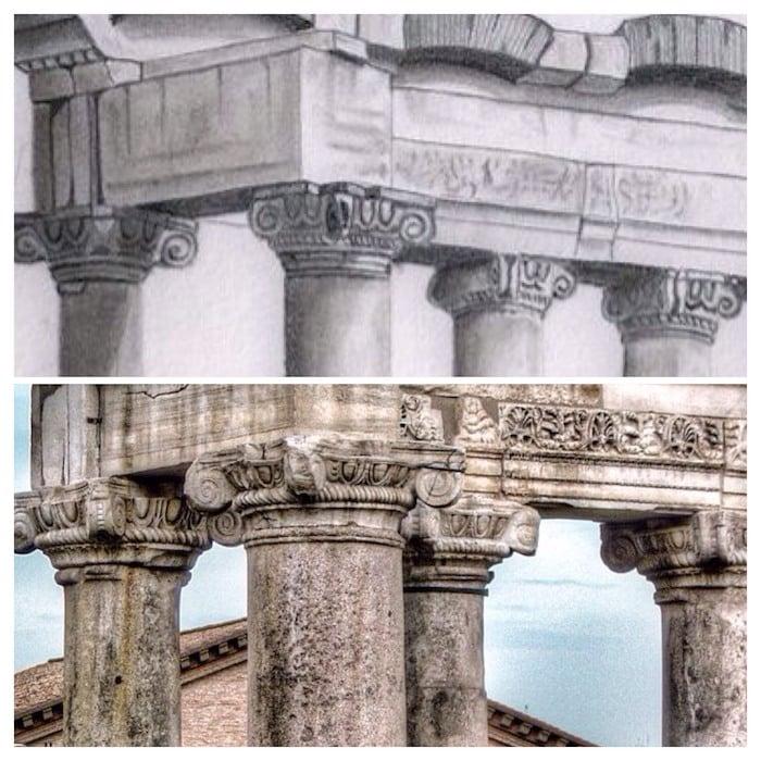 dibujo columnas