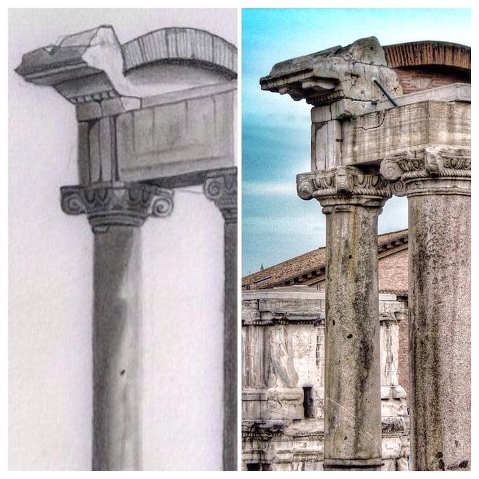 columnas templo de saturno dibujo