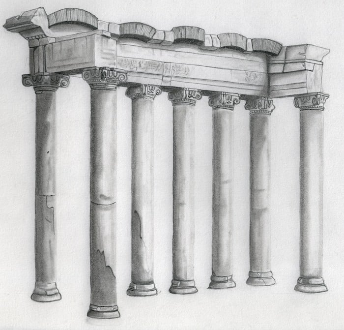 Anatomía de un dibujo. El templo de Saturno en Roma
