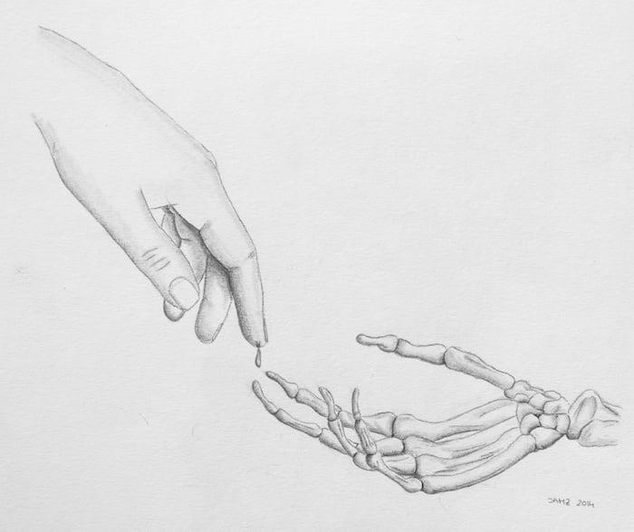 ilustración mano y esqueleto