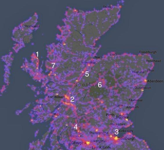 Mapa de los lugares más fotografiados de Escocia