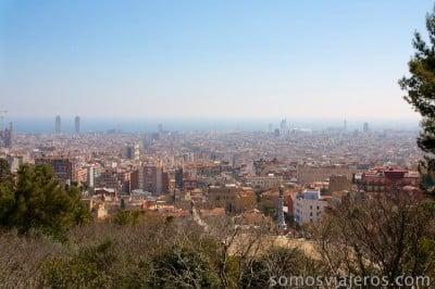 Vista de Barcelona desde las alturas. Park Güell