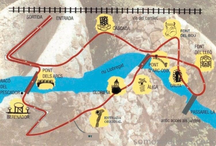 Mapa del recorrido a los jardines Artigas
