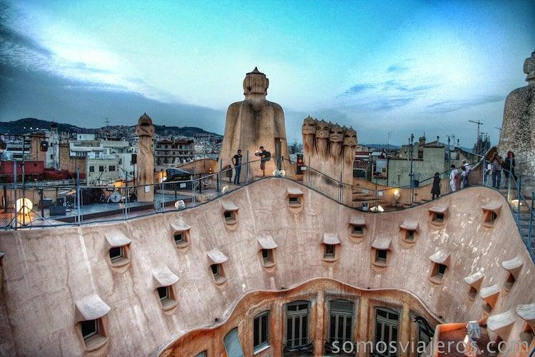 Vistas del tejado de la Pedrera
