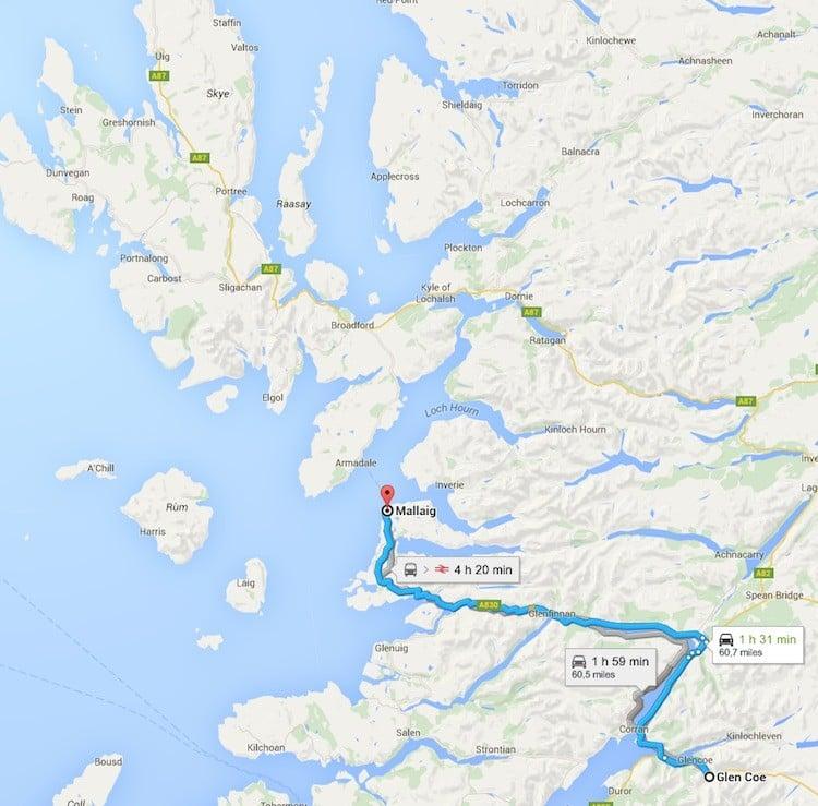 rumbo a Skye mapa