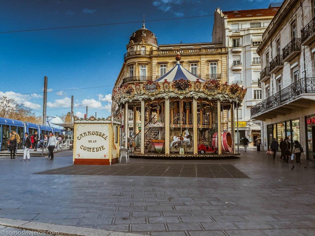 vista de plaza para niños en Montpellier