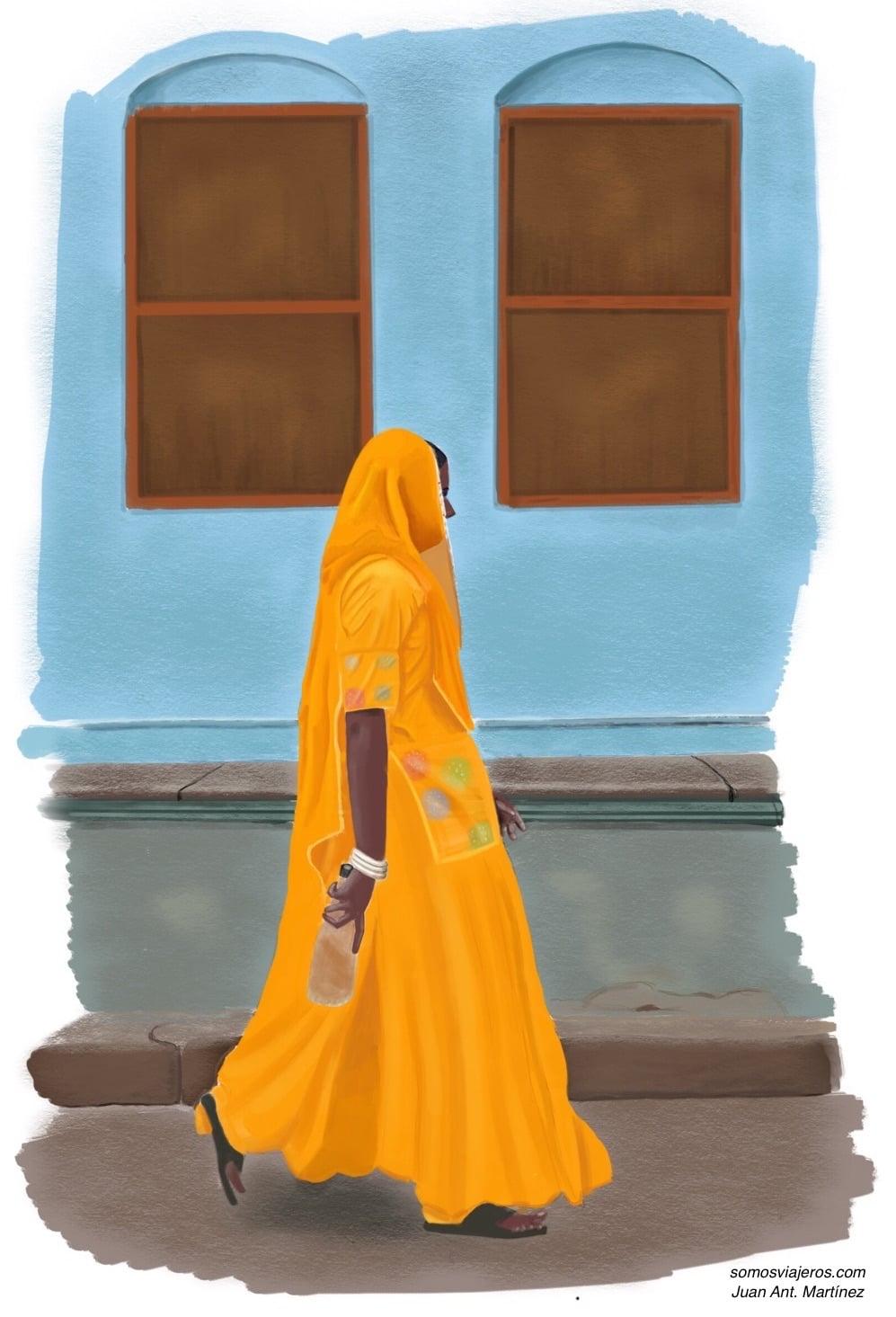 dibujo mujer india