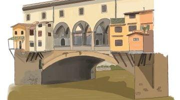 Qué ver en Florencia: Historia y dibujo del Ponte Vecchio.