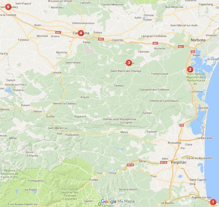 mapa del recorrido por el sur de Francia