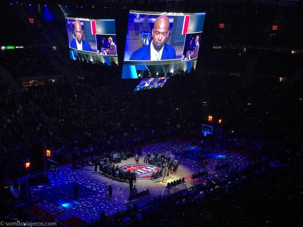 partido de la NBA de los Detroit Pistons. discurso hamilton