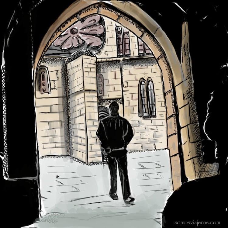 dibujo de Carcassonne. Callejón en la penumbra