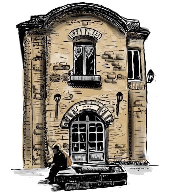 dibujo de Carcassonne. Casa antigua