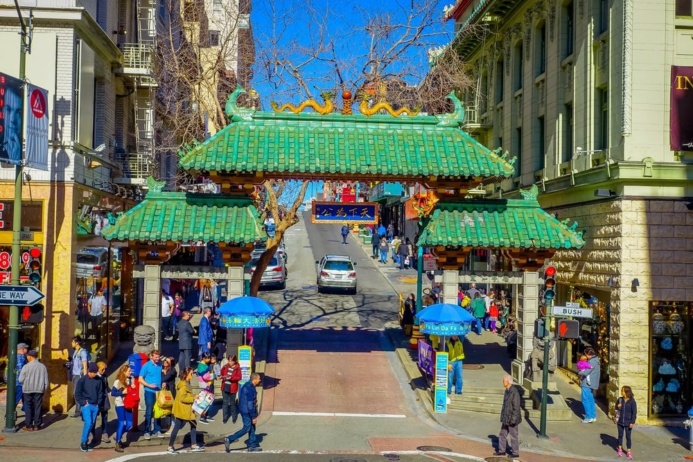 entrada a china town en San Francisco con niños